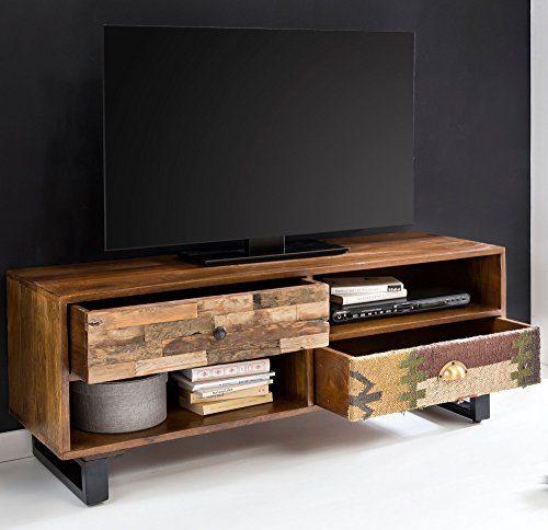 FineBuy TV Lowboard Kanpur 120 x 47 x 40 cm Massiv Holz HiFi Regal Mango Natur | Landhaus-Stil Fernseher Kommode mit Schubladen | TV Board Fernsehschrank