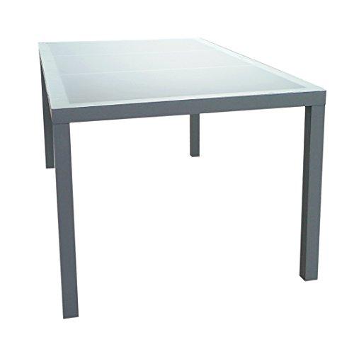 Gartenfreude 2700-1013 Aluminium Tisch mit Glasplatte, 160 x 90 x 72 cm