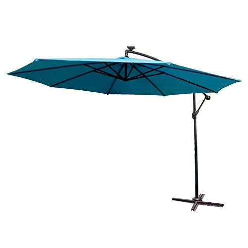 HENGMEI ALU Sonnenschirm Gartenschirm Ampelschirm Strandschirm Kurbelschirm Neigbar Marktschirm Terrassenschirm mit UV Schutz 40+ für Balkon, Garten, Tarasse