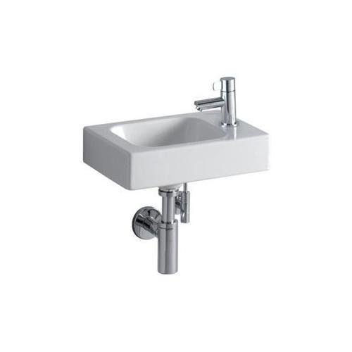 Keramag iCon xs Handwaschbecken asymmetrisch 380x280mm mit Hahnloch rechts ohne Überlauf weiß