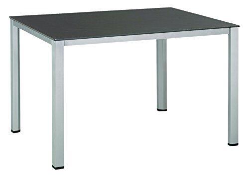 Kettler Cubic Dining-Tische Advantage Balkontisch - Gestell aus Aluminium, Tischplatte in Schierferoptik - bewährte Kettler-Gartenmöbel-Qualität - als Gartentisch nutzbar - 140 cm x 70 cm - silber/anthrazit