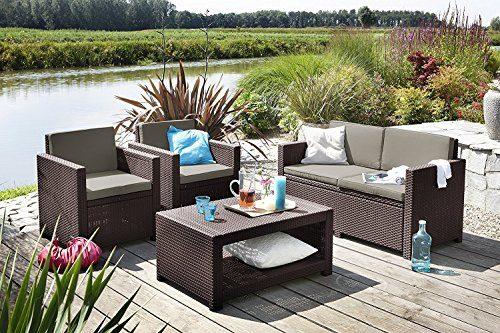 Koll Living Lounge Set Korsika in braun, inkl. Sitzauflagen & Rückenkissen, langlebiger & wetterfester Kunststoff in Rattanoptik, 2 Sessel + 1 Sofa + Tisch