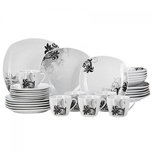 Kombiservice Black Flower 60-teilig eckig Porzellan für 12 Personen weiß mit schwarzem Blumendekor