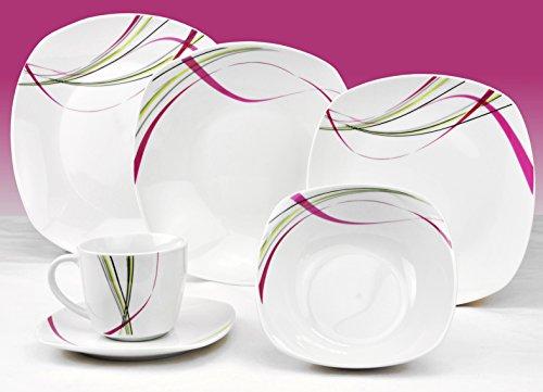 Kombiservice Fashion 124-teilig. leicht eckig Porzellan für 12 Personen weiß mit Liniendekor