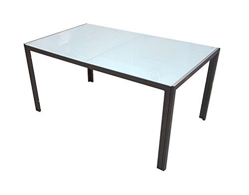 LD-Handel Gartentisch Esstisch Alu Tisch Gartenmöbel GM7 150x90cm Milchglas