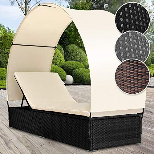 MIADOMODO Poly Rattan Lounge Sonnenliege mit Dach Rückenlehnen 4-Fach höhenverstellbar (Farbwahl)