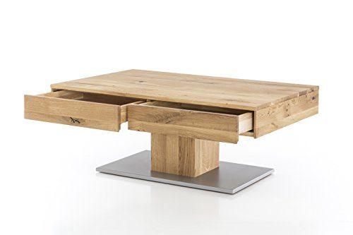 Massivholz Couchtisch rechteckig aus Wildeiche, geölter Wohnzimmer-Tisch, Beistelltisch inkl. Schublade, Tisch 110 x 70 cm