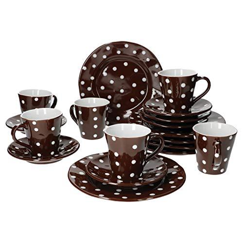 Mercant 18-TLG. Kaffeeservice Braun-Weiß gepunktet | 6 Pers. | Kaffeetassen + Untertassen + Kuchenteller | edles Steingut | Gastro-Geschirr