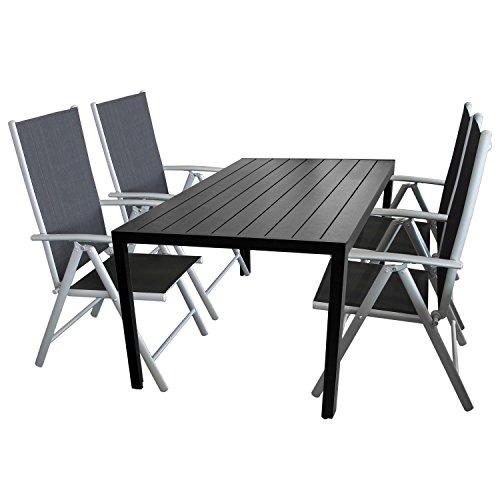 Multistore 2002 5tlg. Terrassenmöbel Set Sitzgruppe 4X Hochlehner Klappstuhl pulverbeschichtet Textilenbespannung + Gartentisch Aluminium Polywood/Non Wood Schwarz 150x90cm