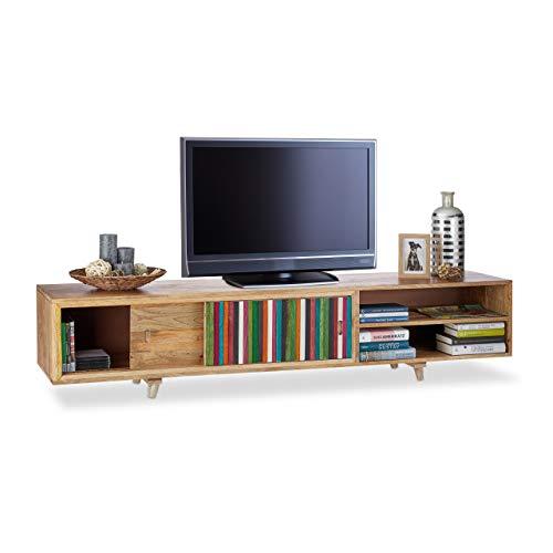 Native Home TV Lowboard, Massivholz, 3 Fächer, niedrig, modernes Design, TV Board, HxBxT: 43 x 180 x 40 cm, bunt-natur