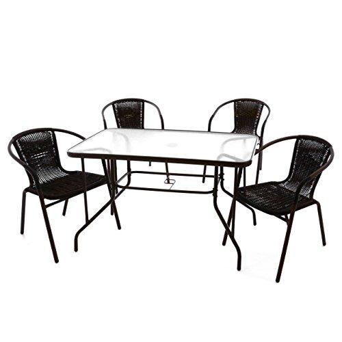 Nexos 5-teiliges Gartenmöbel-Set – Gartengarnitur Sitzgruppe Sitzgarnitur aus Bistrostühlen & Esstisch – Stahl Kunststoff Glas – braun Dunkelbraun