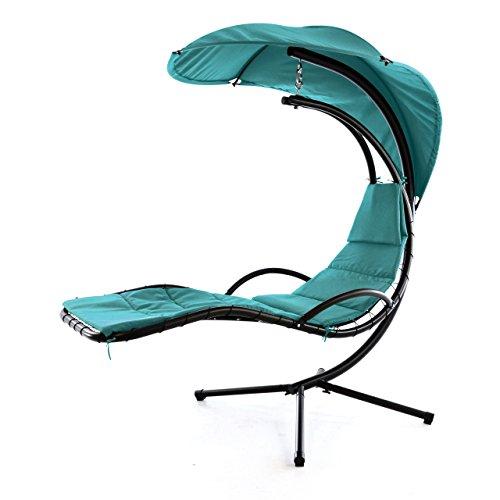 Nexos ZGC34353 Luxus Schwebeliege Blau Schwingliege Relaxliege Hängeliege Sonnenliege Hängeschaukel Inklusive Sonnenschirm türkis