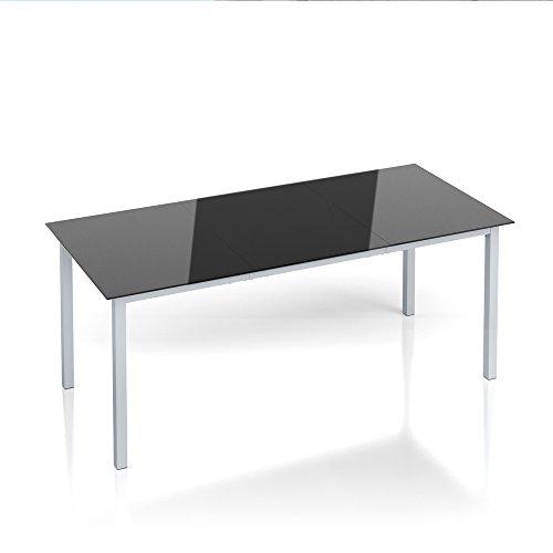 OSKAR Alu Gartentisch 190x87cm Esstisch Terrassentisch Gartenmöbel Glasplatte Balkontisch Tisch