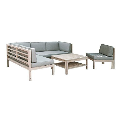 OUTLIV. Loungemöbel Holz Skagen Loungegruppe Design Gartenmöbel weiß/Taupe 4tlg. Loungeset Outdoor