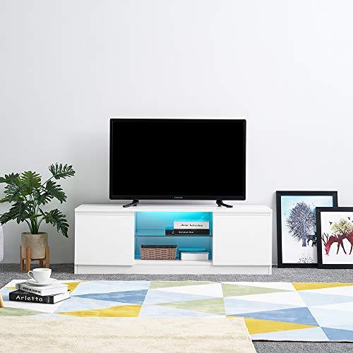 Panana TV Board Lowboard Fernsehschrank weiß Hochglanz 120 x 39 x 40cm inkl. Mehrfarbiges LED