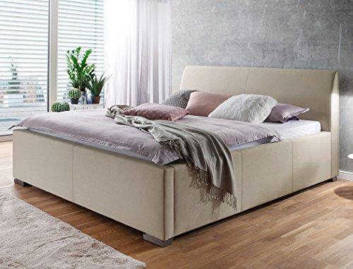 Polsterbett Larissa 180x200 beige Doppelbett Ehebett Bettgestell Futonbett Bett Schlafzimmer Gästezimmer