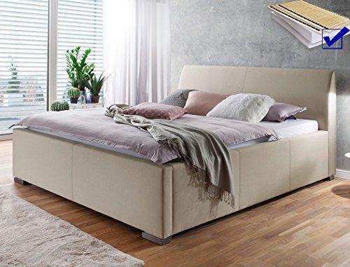 Polsterbett Larissa 180x200 beige Doppelbett Lattenrost Matratze Ehebett Bettgestell Futonbett Bett Schlafzimmer