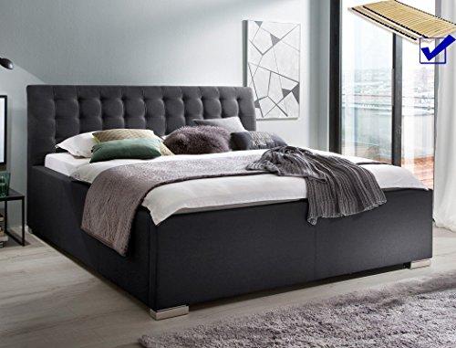 Polsterbett mit Bettkasten Larissa 180x200 anthrazit Doppelbett Lattenrost Ehebett Bettgestell Futonbett Bett