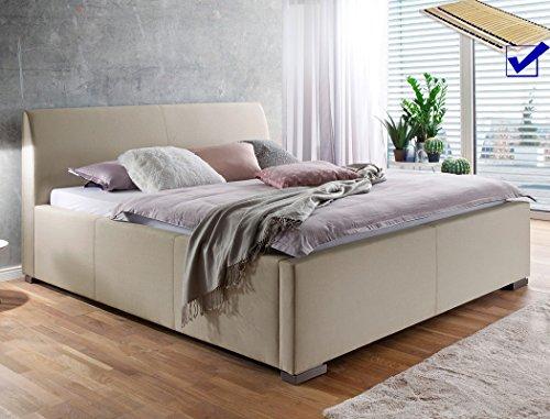 Polsterbett mit Bettkasten Larissa 180x200 beige Doppelbett Lattenrost Ehebett Bettgestell Futonbett Bett