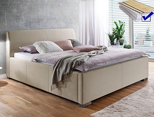 Polsterbett mit Bettkasten Larissa 180x200 beige Lattenrost Matratze Doppelbett Ehebett Bettgestell Futonbett Bett