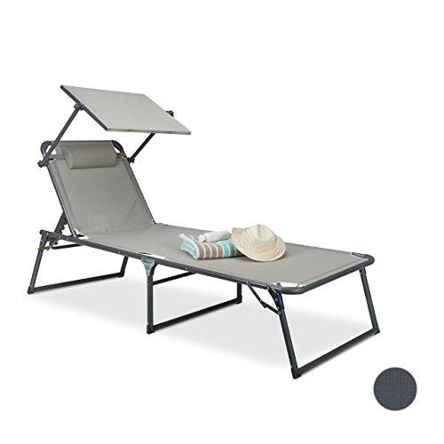Relaxdays Sonnenliege mit Dach HBT: 37 x 70 x 200 cm Gartenliege mit arretierbarem Sonnenschutz mit Aluminium Gestell und Polyester-Bezug klappbare Relaxliege Klappliege zum Sonnenbaden