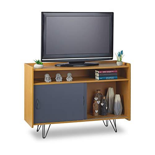 Relaxdays TV Board Vintage, Holzoptik, 3 Fächer, Schiebetüren, Retro-Design, TV Schrank, HxBxT: 73 x 105 x 40 cm, braun