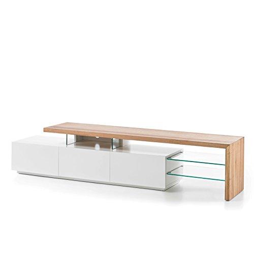 Riess Ambiente Design TV-Lowboard ALIMOS 205 cm Original MCA edelmatt weiß Asteiche massiv