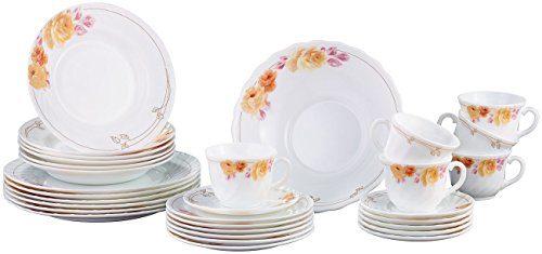 Rosenstein & Söhne Tafelservice: Opalglas- Kombi-Service mit Blumenmuster, 31-teilig (Teller Set)