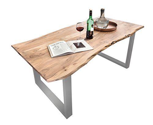 SAM Esszimmertisch Quarto, Akazie-Holz, Tisch, lackierten Beinen aus Roheisen, naturbelassene Optik, Baumkanten-Tischplatte