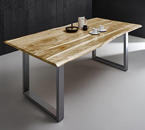 SAM Esszimmertisch Quintana, echte Baumkante, massiver Esstisch aus Akazienholz, Metallbeine, Baumkantentisch