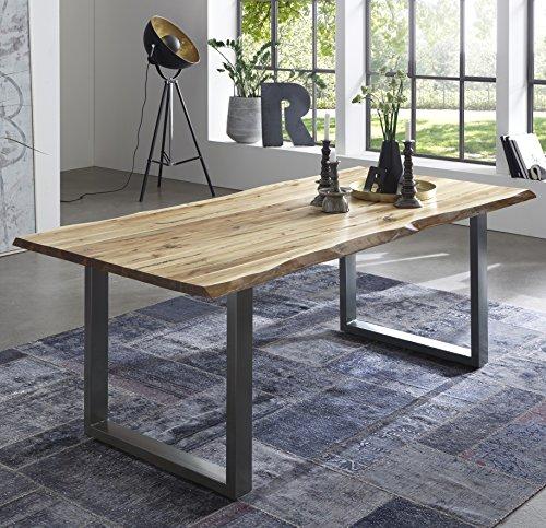 SAM Esszimmertisch Quintus, echte Baumkante, massiver Esstisch aus Akazienholz, Metallbeine, Baumkantentisch