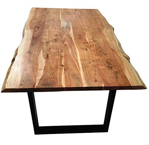 SAM® Stilvoller Esszimmertisch Imker aus Akazie-Holz, Tisch mit lackierten Beinen aus Roheisen, naturbelassene Optik mit Einer Baumkanten-Tischplatte