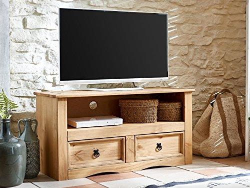 SAM TV Board Santa Fe, Kiefernholz, Mexico-Möbel, Lowboard mit 2 Schubfächern, gewachst, Schwarze Metallgriffen