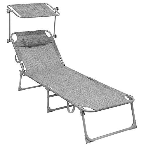 SONGMICS Sonnenliege, Liegestuhl, mit Verstellbarer Rückenlehne und Sonnendach, 193 x 63 x 32 cm, Max. Belastbarkeit 250 kg