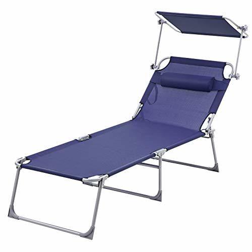 SONGMICS Sonnenliege, extra groß, Verstellbarer Liegestuhl, klappbar, aus pulverbeschichtetem Stahlrohr, rostbeständig, Textilene-Gewebe, Kopfkissen und Sonnendach