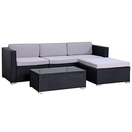 SVITA Poly Rattan Lounge California Gartenset Sofa Garnitur Polyrattan Gartenmöbel Farbwahl