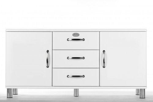 Sideboard Tenzo Malibu 150 cm mit 3 Schubladen & 2 Türen MDF Matt Farbe wählbar, Farbe:Weiß