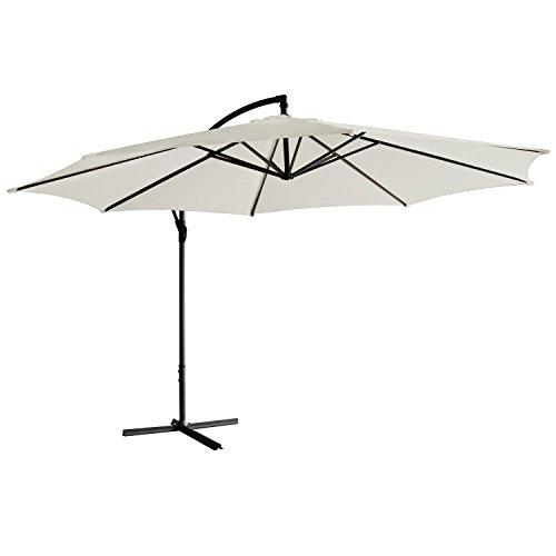 Sonnenschirm freischwebend in 7 Farben - Jalano Ampelschirm 350 cm Durchmesser, Garten Schirm inkl. Schutzhülle und Fusskreuz - höhenverstellbarer Kurbelschirm