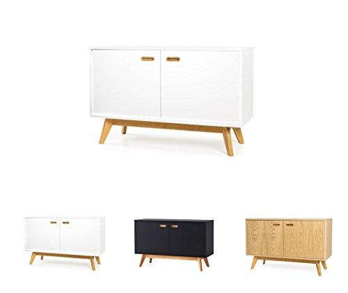 TENZO 2172-001 BESS Designer Sideboard, lackiert, matt, Untergestell massiv, 72 x 114 x 43 cm, weiß/eiche, (HxBxT)