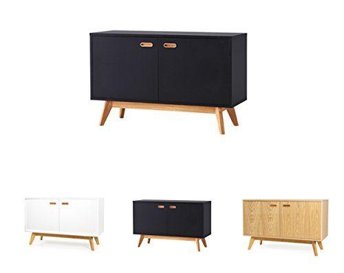 TENZO 2172-024 BESS Designer Sideboard, lackiert, matt, Untergestell massiv, 72 x 114 x 43 cm, schwarz/eiche, (HxBxT)