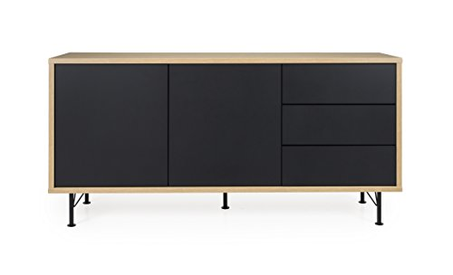 TENZO Flow Sideboard 1 Tür und 3 Schubladen, Eiche laminiert