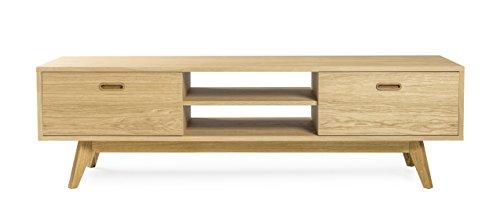 Tenzo 2162-001 Bess Designer TV-Bank, Lackiert, Matt, 50 x 170 x 43 cm, weiß/Eiche