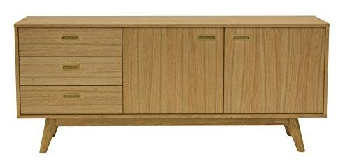 Tenzo 2175-001 Bess - Designer Sideboard, Untergestell Eiche Massiv, 72 x 170 x 43 cm, weiß/Eiche / Lackiert Matt