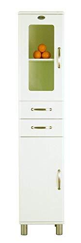 Tenzo 5168-005 Malibu - Designer Hochschrank 200 x 41 x 40 cm, MDF lackiert, weiß