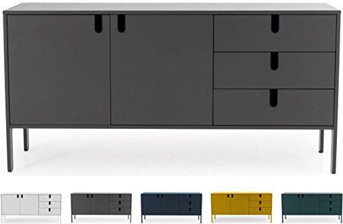 Tenzo 8555-014 UNO Designer Sideboard 2 Türen, 3 Schubladen, Grau lackiert, MDF + Spanplatten, matt Soft-Close Funktion, 86 x 171 x 46 cm (HxBxT)