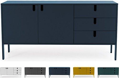 Tenzo 8555-023 UNO Designer Sideboard 2 Türen, 3 Schubladen, Petrol Blau lackiert, MDF + Spanplatten, matt Soft-Close Funktion, 86 x 171 x 46 cm (HxBxT)