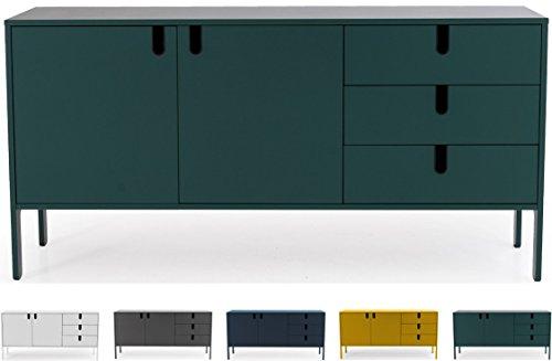 Tenzo 8555-031 UNO Designer Sideboard 2 Türen, 3 Schubladen, Forest Grün lackiert, MDF + Spanplatten, matt Soft-Close Funktion, 86 x 171 x 46 cm (HxBxT)