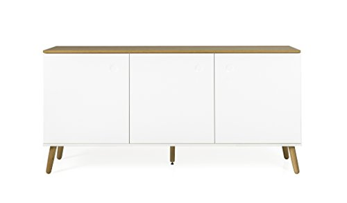 Tenzo ACE Sideboard 3 Türen MDF und Spanplatte, Lackiert Weiss/Natur One Size