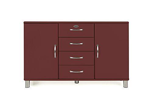 Tenzo Malibu Sideboard 2 Türen, 4 Schubladen MDF und Spanplatte, Lackiert Marsala One Size