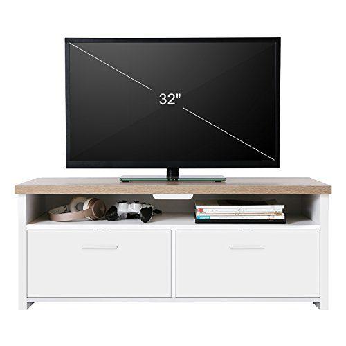 VASAGLE Fernsehtisch, TV-Schrank mit Fächern und Klapptüren, Fernsehschrank,TV Board, Lowboard, Tisch TV Möbel Weiß holzfarben LTC01WN
